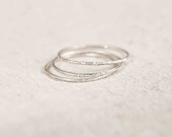 Super Skinny Stacking Rings, Silver Stacking Rings, Hammered Stacking Rings, Thin Silver Ring, Minimalist Jewelry, Minimalist Boho Ring
