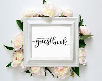 """Please Sign Our Guestbook 8""""x10"""" Printable Sign 