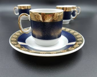 Vintage Tanaka Demitasse  Cup and Saucers Set ~ Rose Gold and Navy ~ Set of 4 ~ Made in Japan ~ Espresso Set