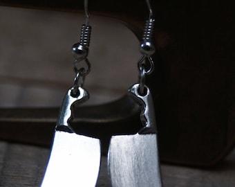 Butcher earrings, halloween jewelry, serial killer earrings, horror movie jewelry, cleaver earrings, butcher knife