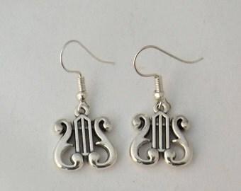 Harp earrings, string musical instrument earrings, gift for her, stocking filler, sterling silver earrings, music student or teacher gift