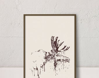 Moose Print, Animal Printable Art, Moose Poster, Minimalist Decor, Moose Design, Moose Graphic, Modern Prints, Nature Print, Digital Print