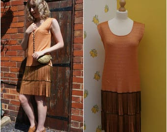 1960's does 1920's Size S-M Orange and Gold chevron knit dress with antique bronze metal fringe