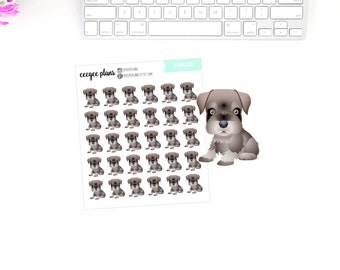 Schnauzer Planner Stickers | 30 Dog Stickers for ANY Planner