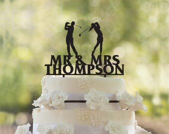 Golfers wedding cake topper- Customizable Cake Topper- Golfers wedding cake topper-Wedding Cake Topper- Golf Cake topper Christmas Gift