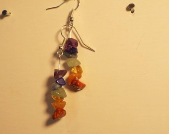 7 Chakras Earrings #1 // Made with real gemstones // Hand Made // Limited Production (3 pairs) // About 1.5 inches