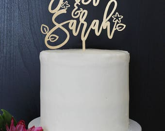 Personalized Modern Rustic Garden Floral Wedding Cake Topper   Custom Name