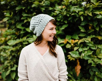 Dusty Mint Slouchy Hat / / Puff Stitch Beanie / / Crochet Beanie