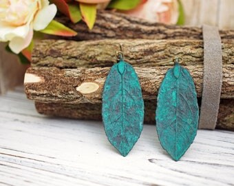 Green Verdigris Leaf Earrings | Nature Botanical Inspired Jewelry