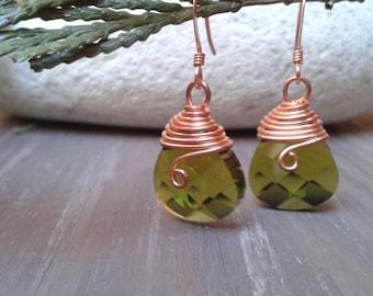 Crystal drop earrings, wire wrapped earrings, copper and crystal, green earrings, copper earrings, women's gift
