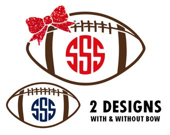Football with bow svg, football monoram svg, football laces svg, football lace svg, football mon svg, football monogram frame svg, svg files