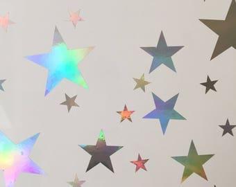 120 Ultra Rainbow Shine Stars Wall Stickers