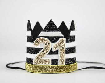 21st Birthday Crown | Kate Spade | Adult Birthday Crown | 21st Birthday Party Hat |Turning 21 Crown | Birthday Party Decor | Black + Gold