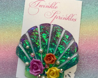 Little mermaid inspired shell brooch with Swarovski crystals and handmade roses