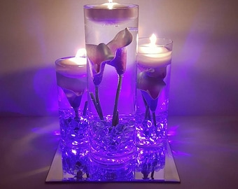 items similar to ocean blue tiger lily wedding centerpiece kit blue marbles and led light on etsy. Black Bedroom Furniture Sets. Home Design Ideas