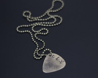 Custom Personalised Brass Guitar Pick Necklace with Engraved Lettering in Old English Font / Name / Initials / I.D (choose your own text)