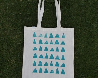Hand printed mountain canvas tote bag