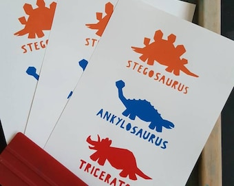 Three Dinosaurs Screenprint - Hand Printed, Limited Run (8) - Nursery or Child's Room Art Decor - Orange, Blue, Red