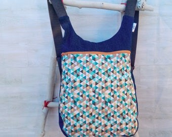 Mochila mujer estampado triángulos: Bolso mochila mujer - Mochila tejana - Mochila ergonómica - Mochila tela moderna - Bolso libros colorido