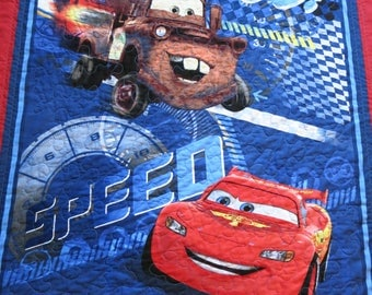 Cars Quilt, Lightning McQueen, Tow Mator Quilt, Blanket, wall hanging, toddler quilt, boy gift, baby blanket, baby quilt, handmade