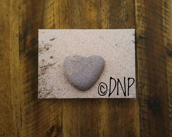 Nature Photography - Canvas Art - Nature Print - Heart Shaped Rock on Beach - Macro Photography - 5x7 Inch Canvas Print