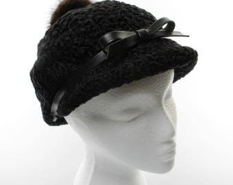 Vintage Women's Black Persian Lamb Cap with Black Leather Band/Bow and Fur Button