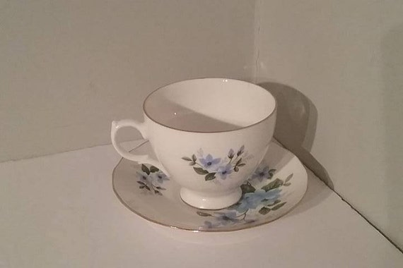 Queen Anne Cup and Saucer, Vintage Queen Anne Cup and Saucer, Queen Anne Cup and Saucer, Vintage Queen Anne China, Blue Floral Queen Anne