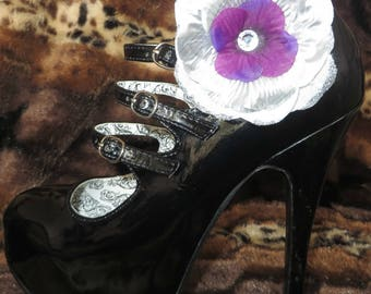 silver and purple shoe clips (pair)