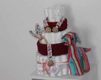 Diaper cake with baskets, rattle, pacifier, blanket clip, Teddy