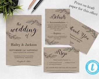 Rustic Wedding Invitation Template, Wedding invitation template, Wedding Invite, Kraft wedding Invitation, instant download, Kraft Wedding