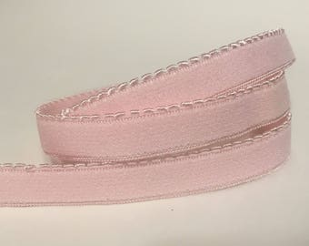 1/3/5 Yards - 11mm Light Pink Plush Backed Picot Elastic