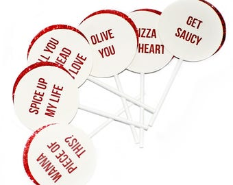 Pizza My Heart Valentine's Day Cupcake Toppers