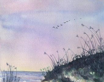 Aquarelle originale, paysage de mer, les dunes soleil couchant