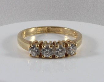 White Cz Gold Tone Ring Size 8