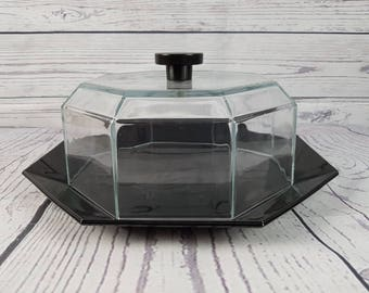 Vintage Black Arcoroc France Cake Plate with Glass Dome Cloche Arcopal Octime Octagon Geometric Shape 70s Modern Mid Century