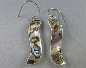 Vintage Mother Of Pearl Abalone Shell Dangle Earrings Sterling Silver 6.1 Grams Southwest Native American