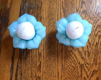 Glass Lotus Votive Holder, Vintage Flower Candle Holders