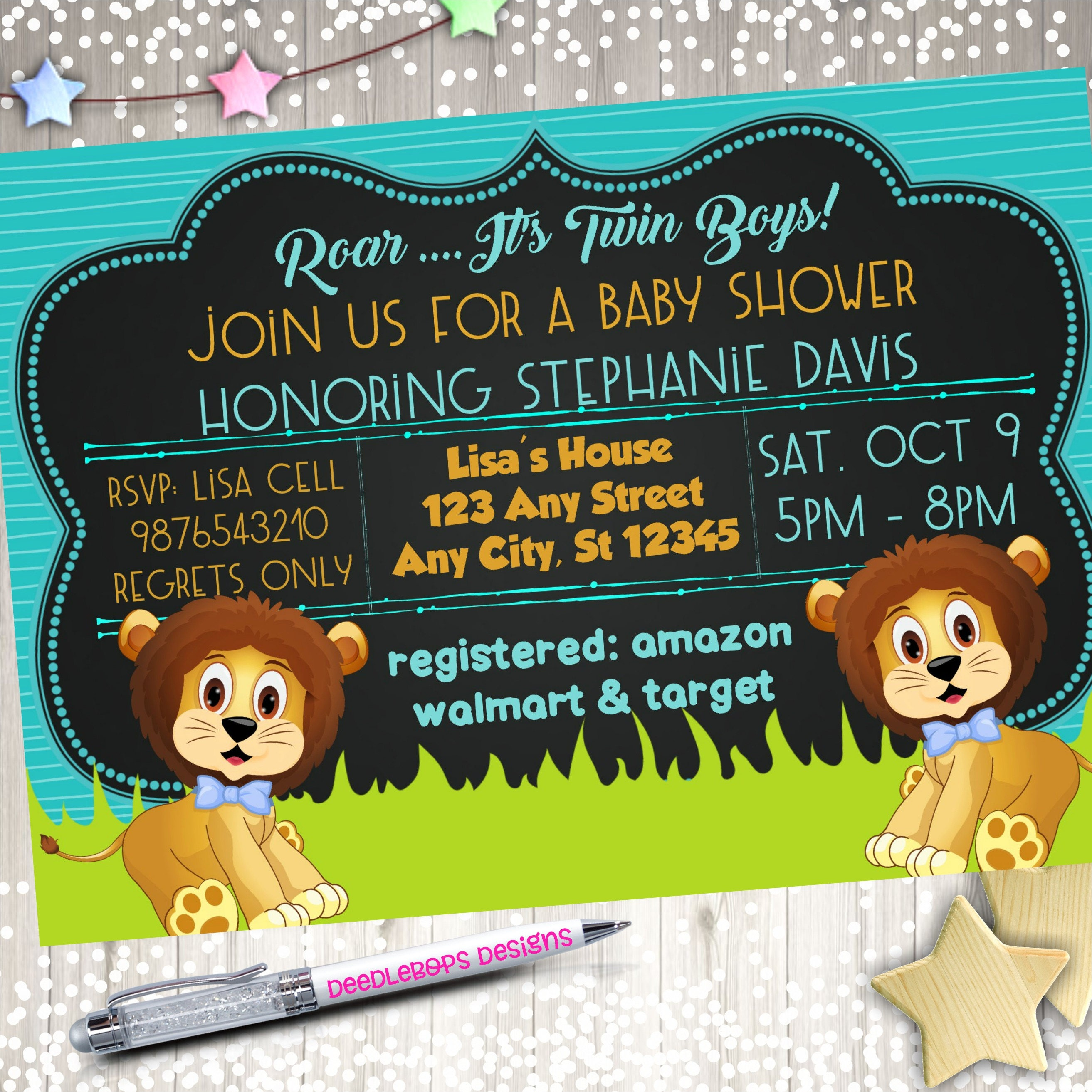Lion Birthday Party - Lion Baby Shower Invitation - Baby Lion Baby ...