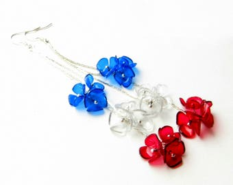 4th July 4th july earring Patriotic earring Patriotic jewelry 4th of July jewelry Independence Day gift America Silver tassel earrings
