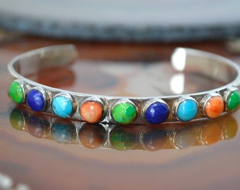 Vintage Native American Signed BM Turquoise Lapis Lazuli Coral Sterling Silver Cuff Bracelet - 593933937