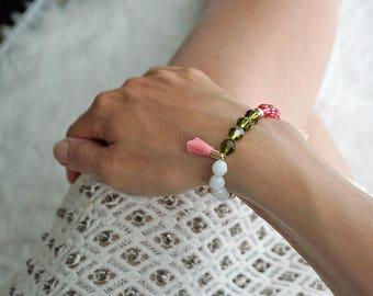 Colorful glitter bracelet, bracelet with glitter Beads Bracelet with Rhinestone bracelet pink, arm jewellery, bracelets with tassels, boho-arm jewellery