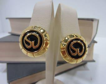 "Vintage St. John Black & Gold-Tone ""SJ"" Clip-On Earrings"