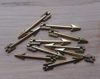 10 x Zinc Alloy Gold Arrow Charms for Jewellery Making