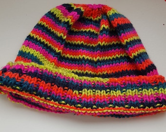 Adult's Beanie hat, Designed, Hand knitted, Colourful soft Aran, Gift, Bright Rainbow yarn, Festivals, Camping, Walks, Child size available