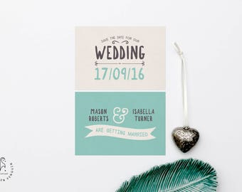 Teal Blue Wedding Invitation Save the Date - Wedding Invite Set Our Ever After
