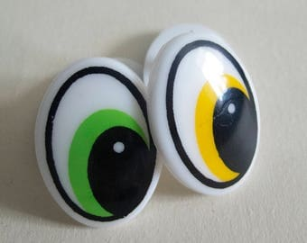 Cartoon Safety Eyes 35 x 25 mm, 2 Pairs Comic Eyes, Oval Doll Eyes,  Craft Eyes