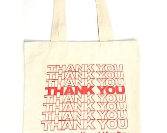 Heavyweight Thank You Tote bag Canvas Bag Shopping bag Grocery Bag