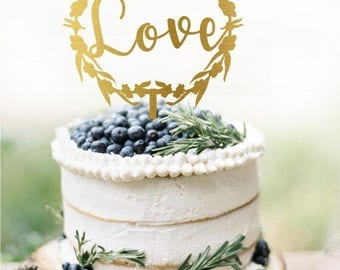Love Cake Topper, Love Wedding Cake Topper Gold, Custom Personalized Wedding Cake Topper, Gold Love Cake Topper