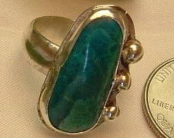 Turquoise Ring Sterling Silver OOAK Large Boho Utah Turquoise Size 6 1/2 Statement Ring   373 B