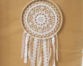 White Boho Crochet Dream Catcher
